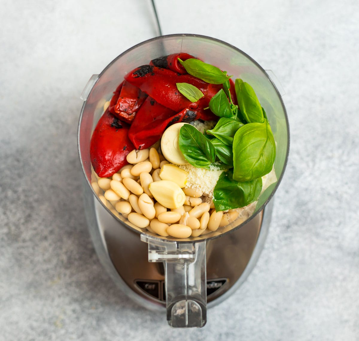 Ingredients for healthy dip in a food processor