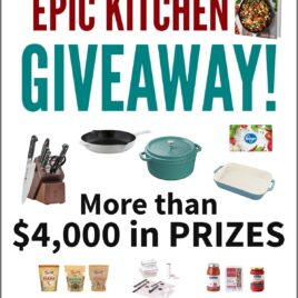 Epic Kitchen Giveaway Photo Collage featuring cast iron cookware, knives, and pantry items