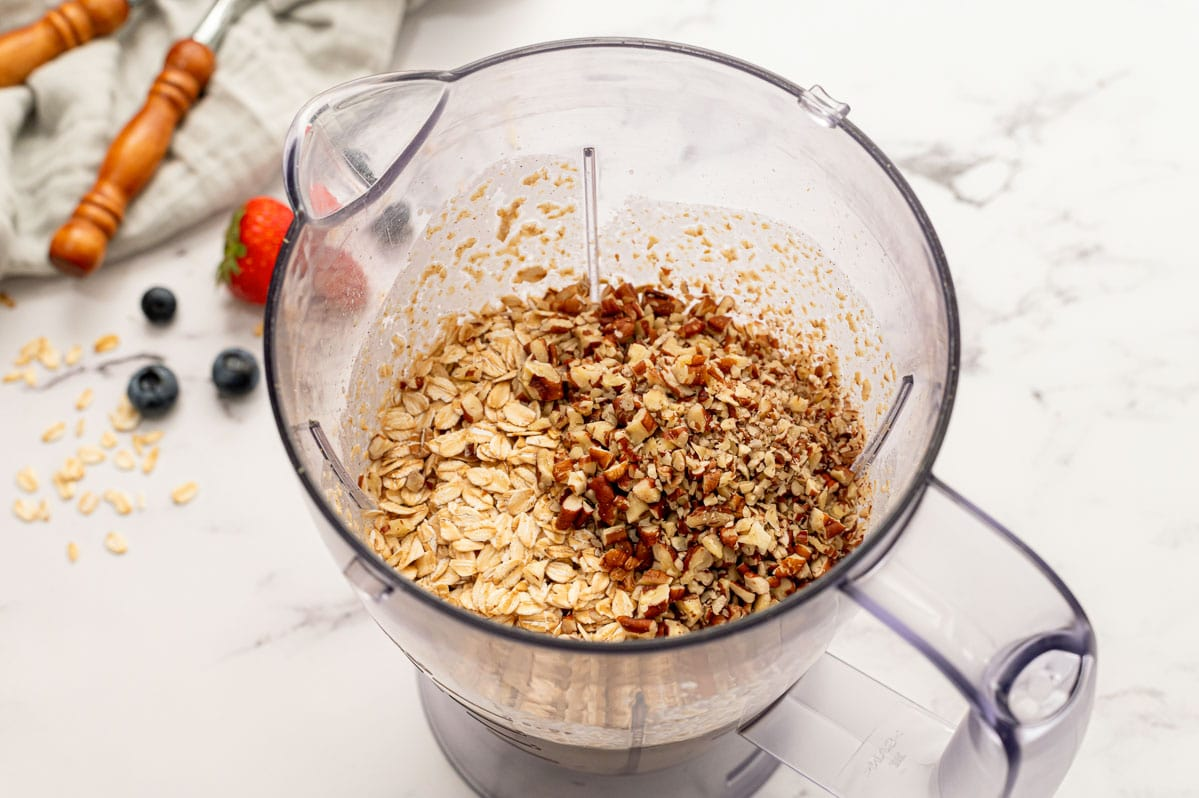 Oats and nuts in a blender