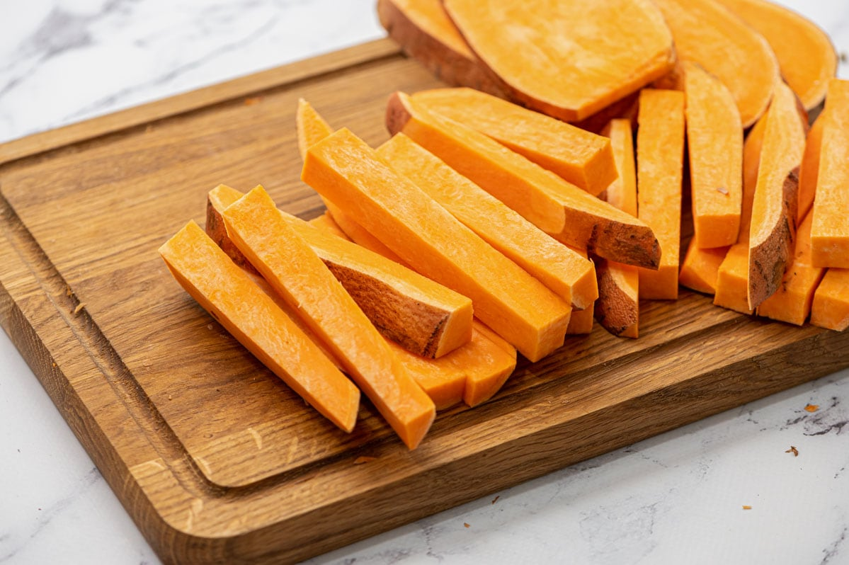 Sweet potato cut into fries