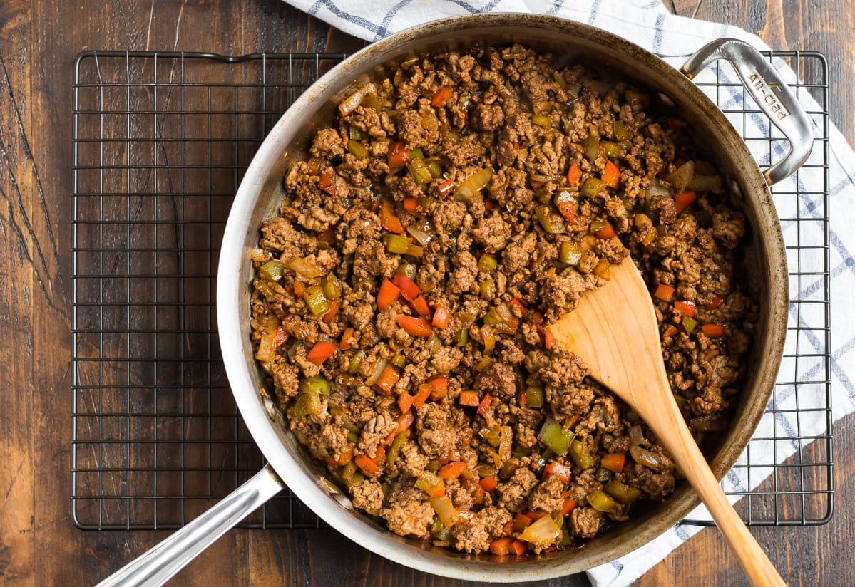 A pan with ground meat and vegetables