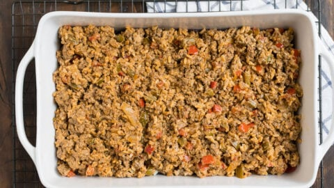 Ground meat in a baking dish