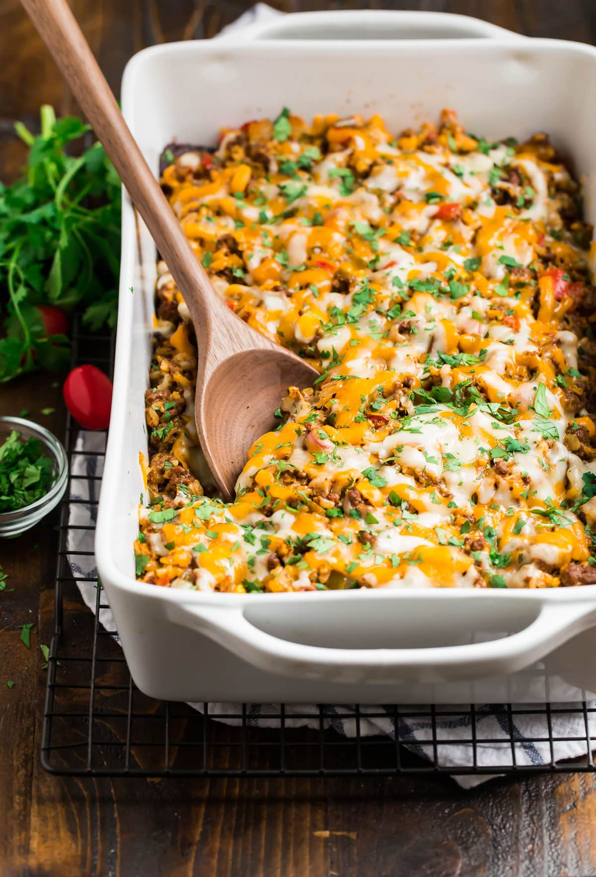 A healthy and easy casserole in a baking dish