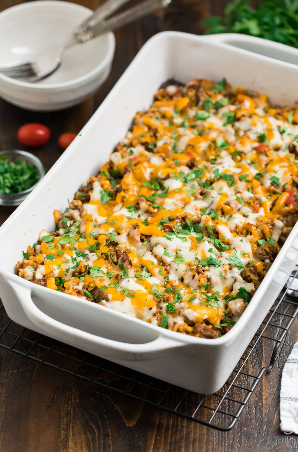 A baking dish with Mexican casserole