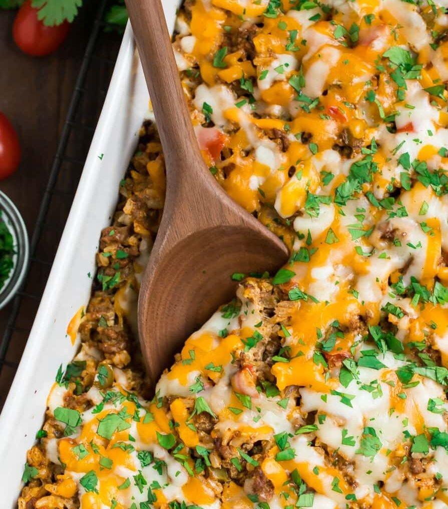 Healthy Mexican casserole in a baking dish
