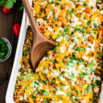Cheesy Mexican casserole in a baking dish