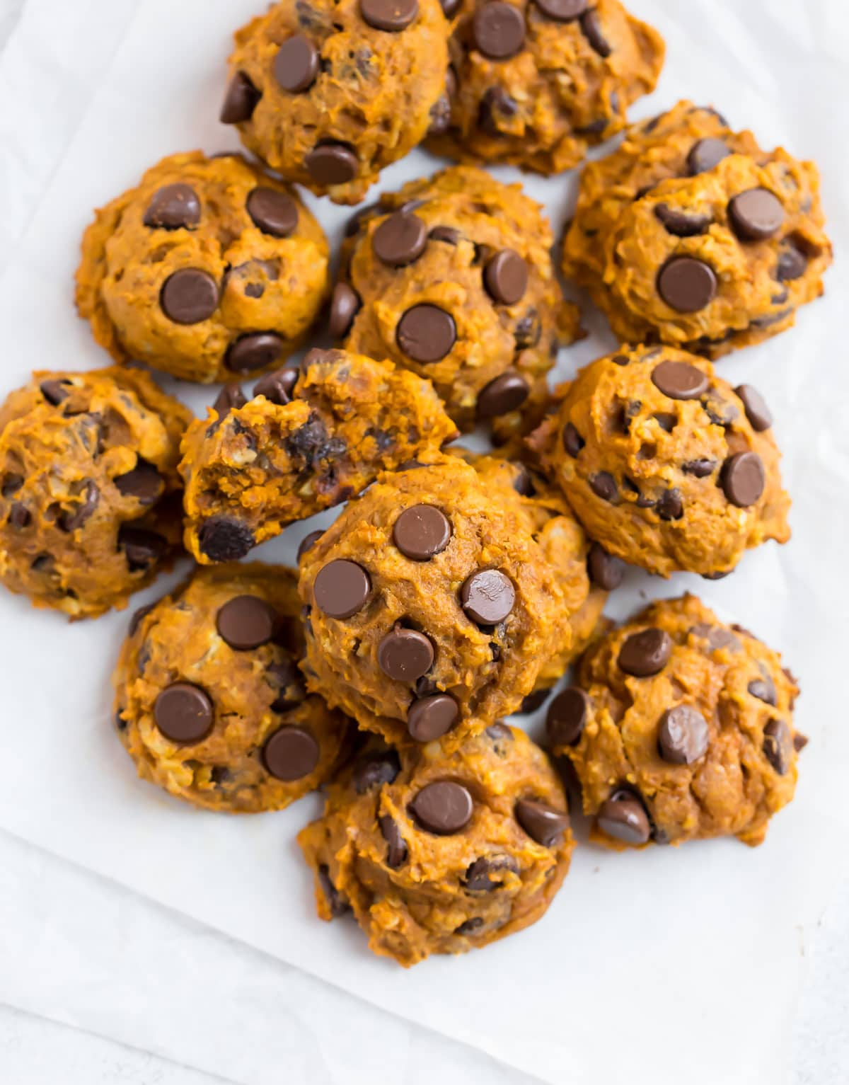 Healthy pumpkin cookies with chocolate
