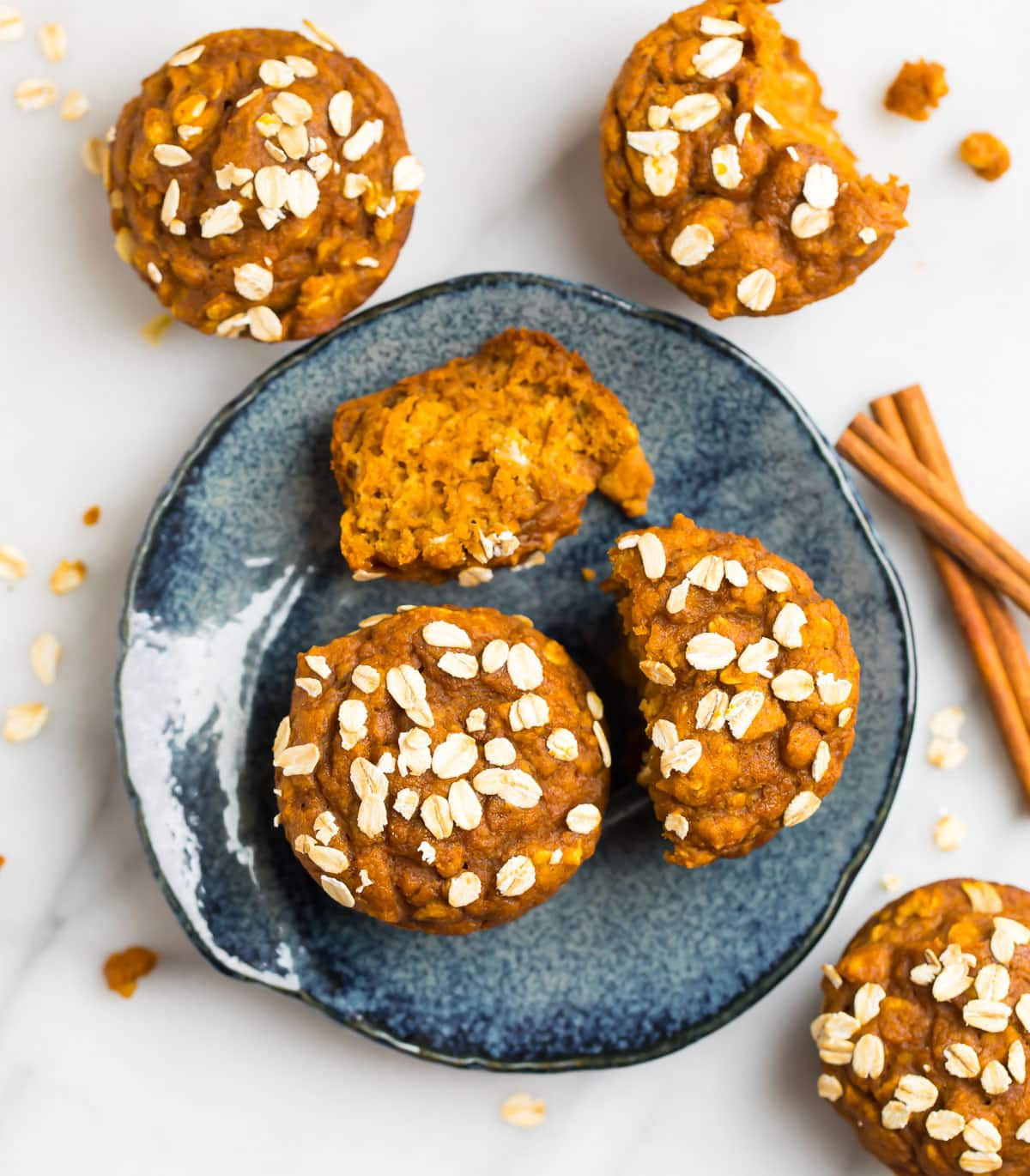 Healthy pumpkin muffins on a blue plate