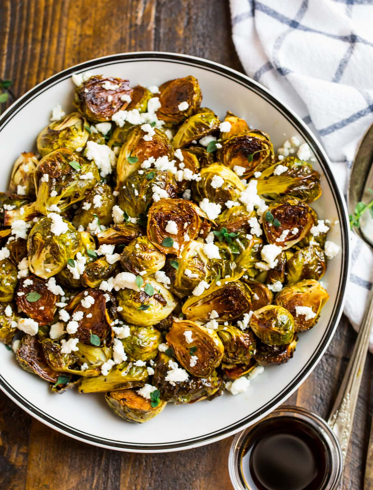 A bowl of Brussels sprouts with balsamic