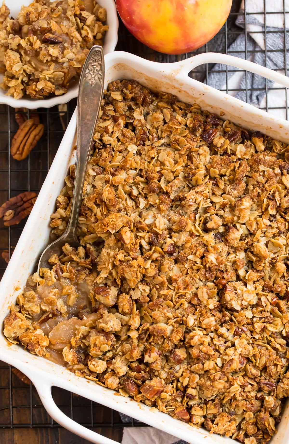 Gluten free apple crisp in a baking dish