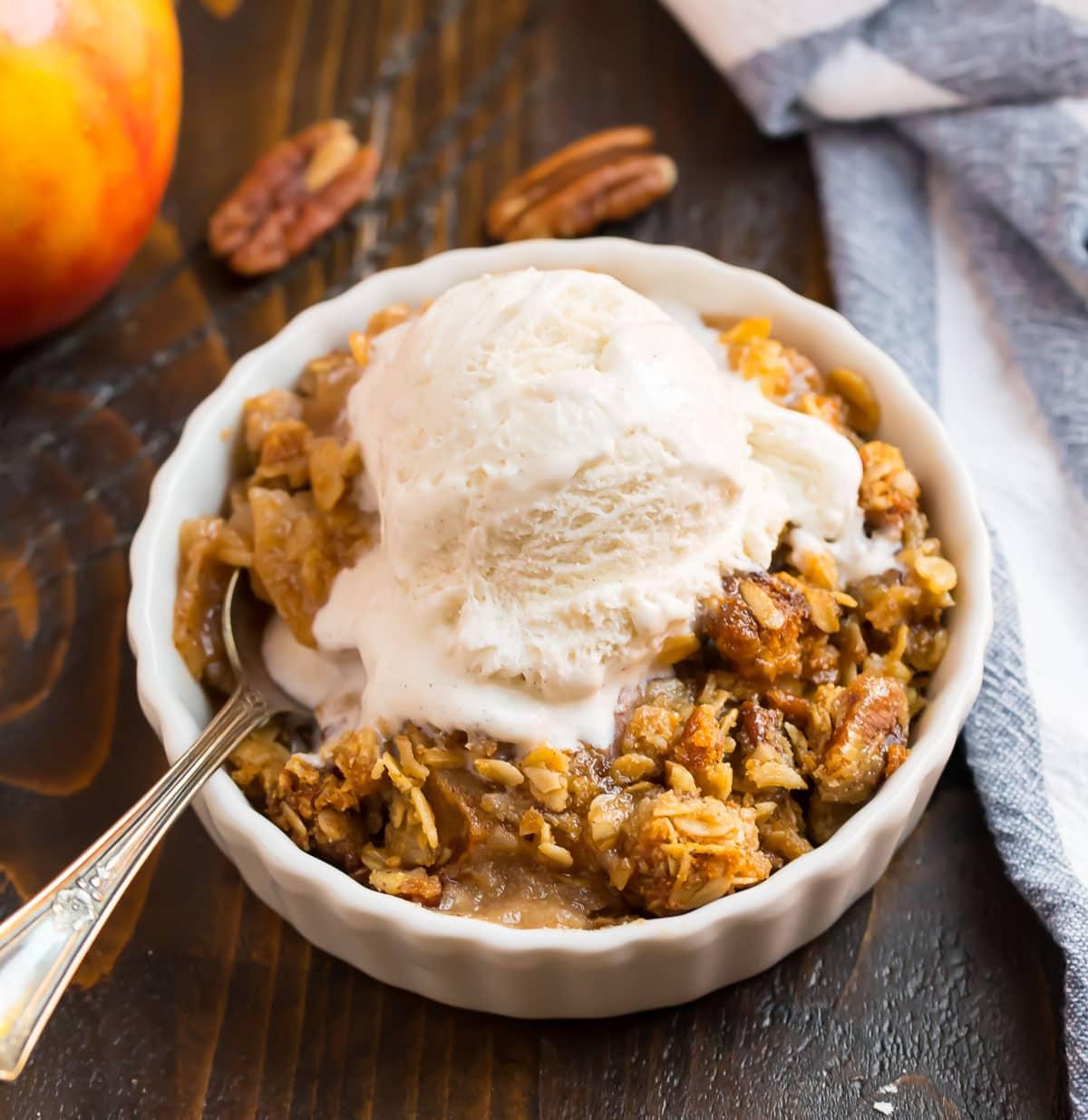 Gluten free apple crisp in a bowl