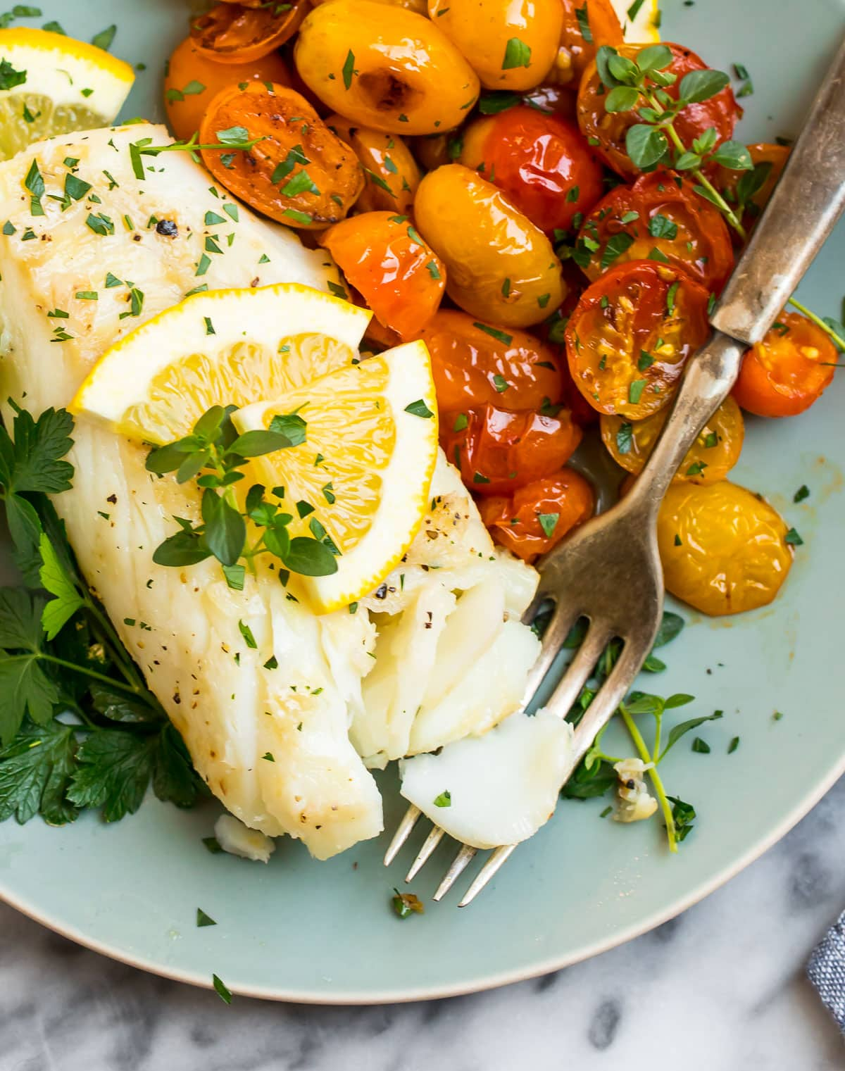 Pan fried cod on a plate with tomatoes and herbs