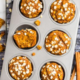 Healthy pumpkin muffins in a muffin pan