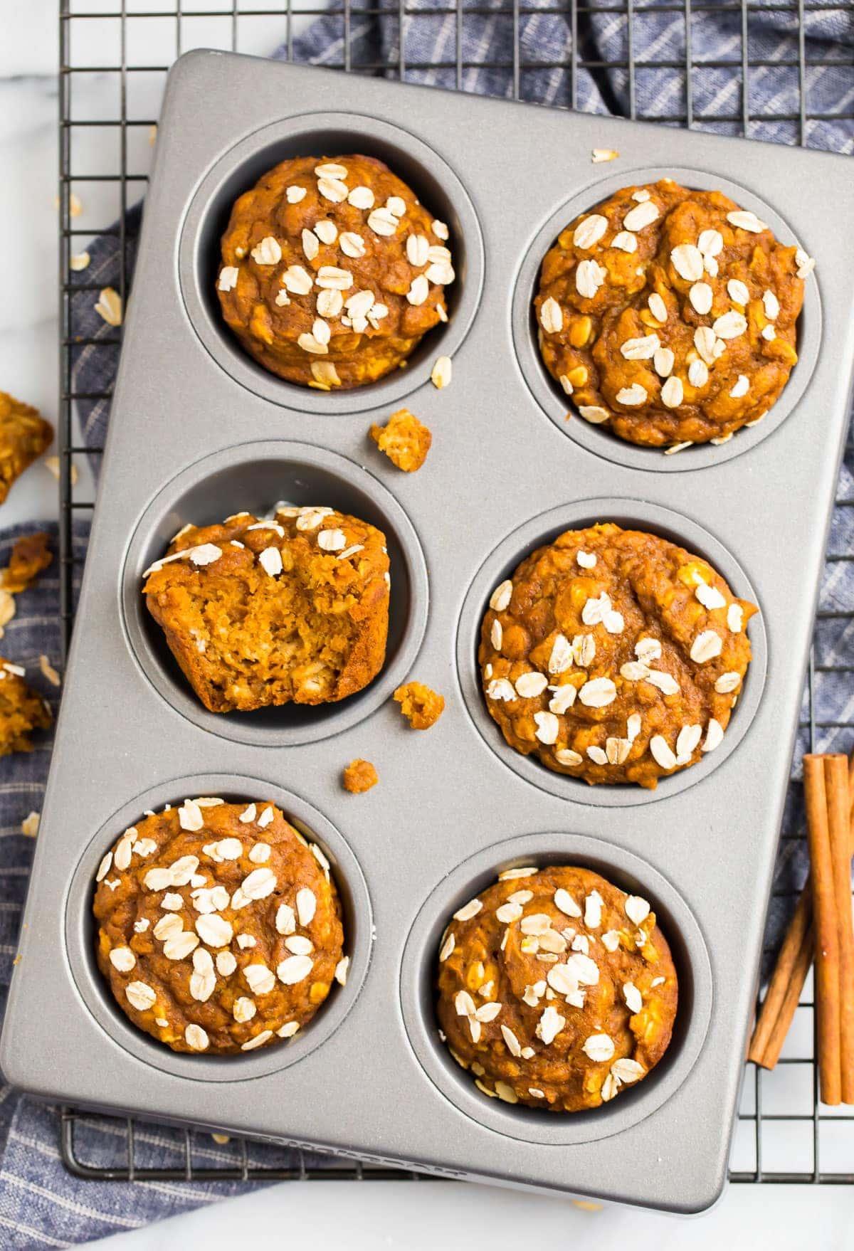 Healthy pumpkin muffins in a muffin pan