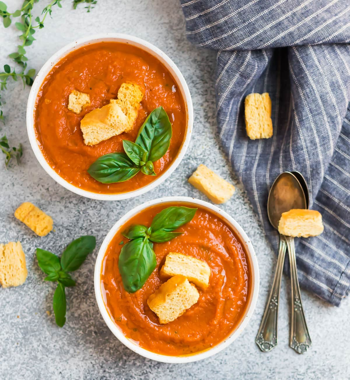 Two bowls of Instant Pot tomato soup