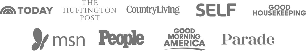Logos of press outlets where Well Plated has been featured including Today, The Huffington Post, Country Living, SELF, Good Housekeeping, and MSN