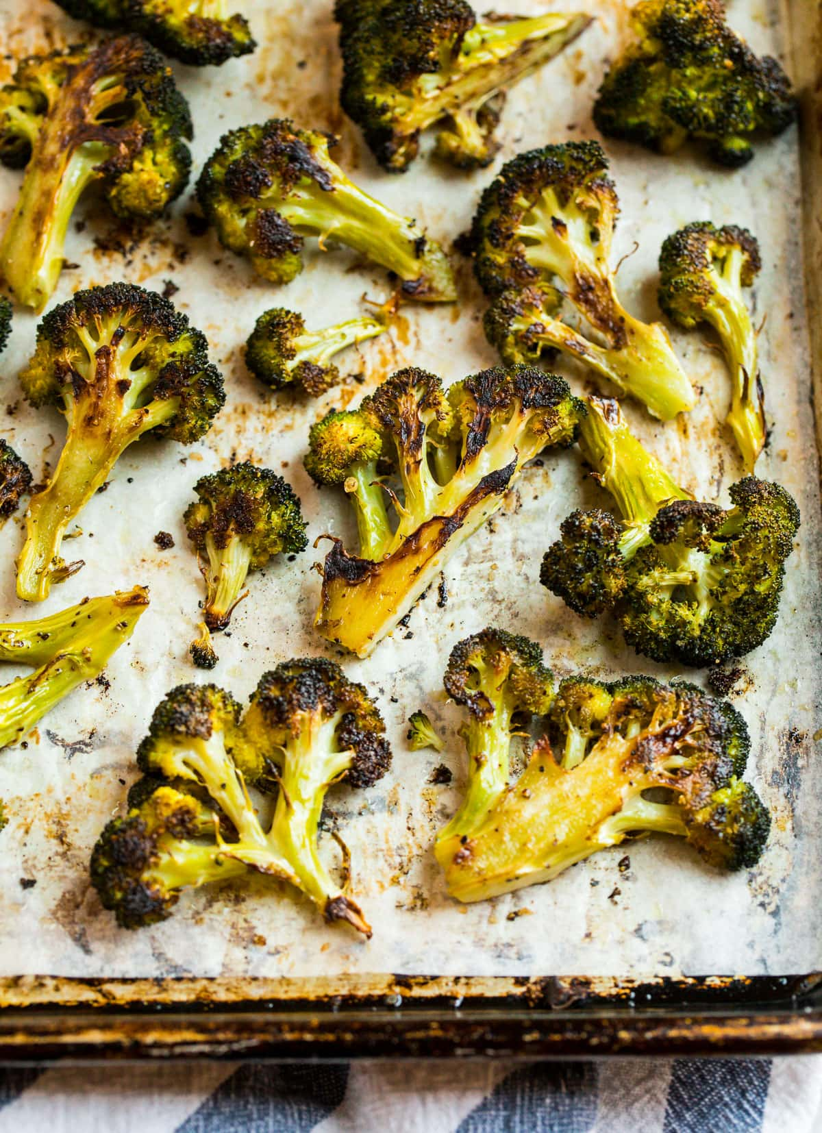 Crispy roasted broccoli on a sheet pan