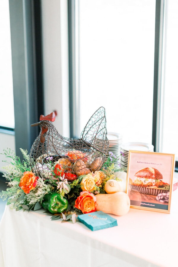 Buffalo Chicken Sliders and flower arrangement