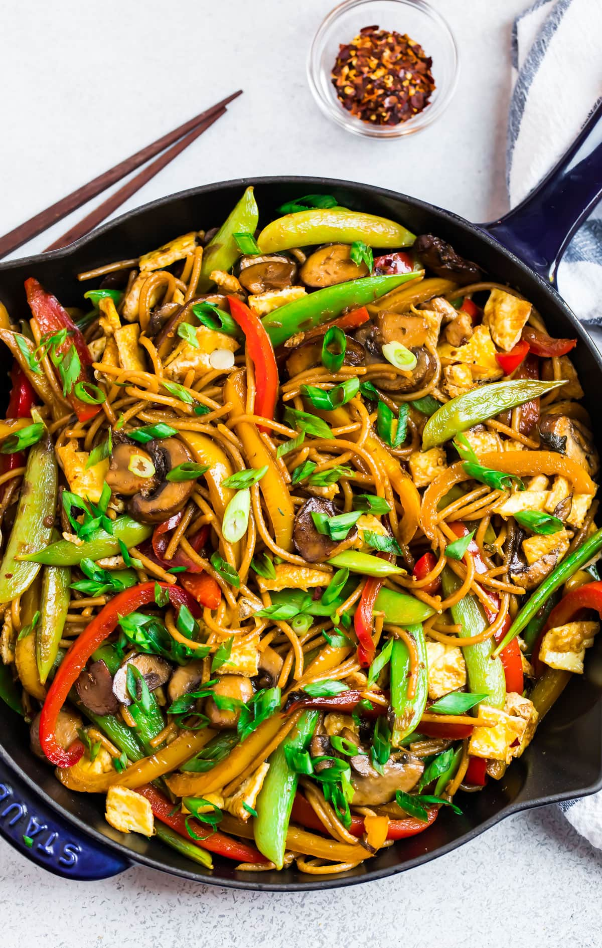 A skillet of vegetable lo mein