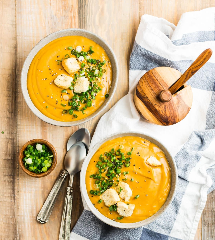 Two bowls of easy vegan potato soup