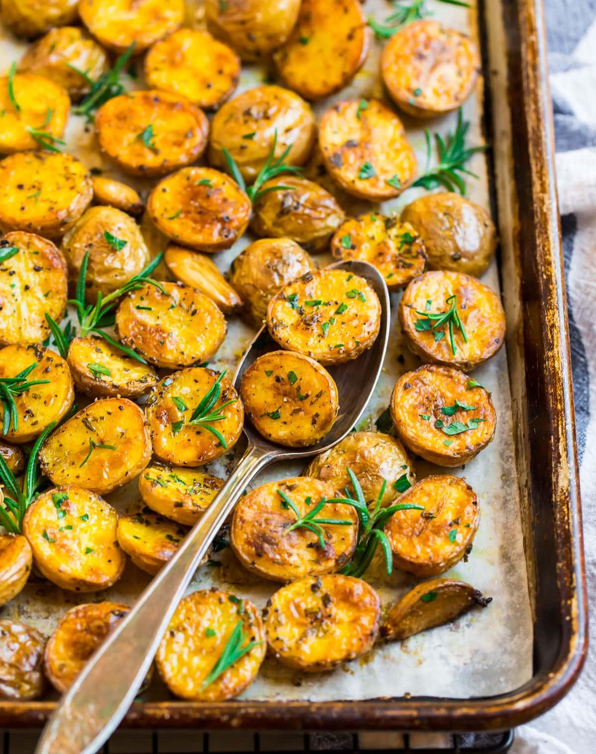 Crispy oven roasted potatoes on a sheet pan