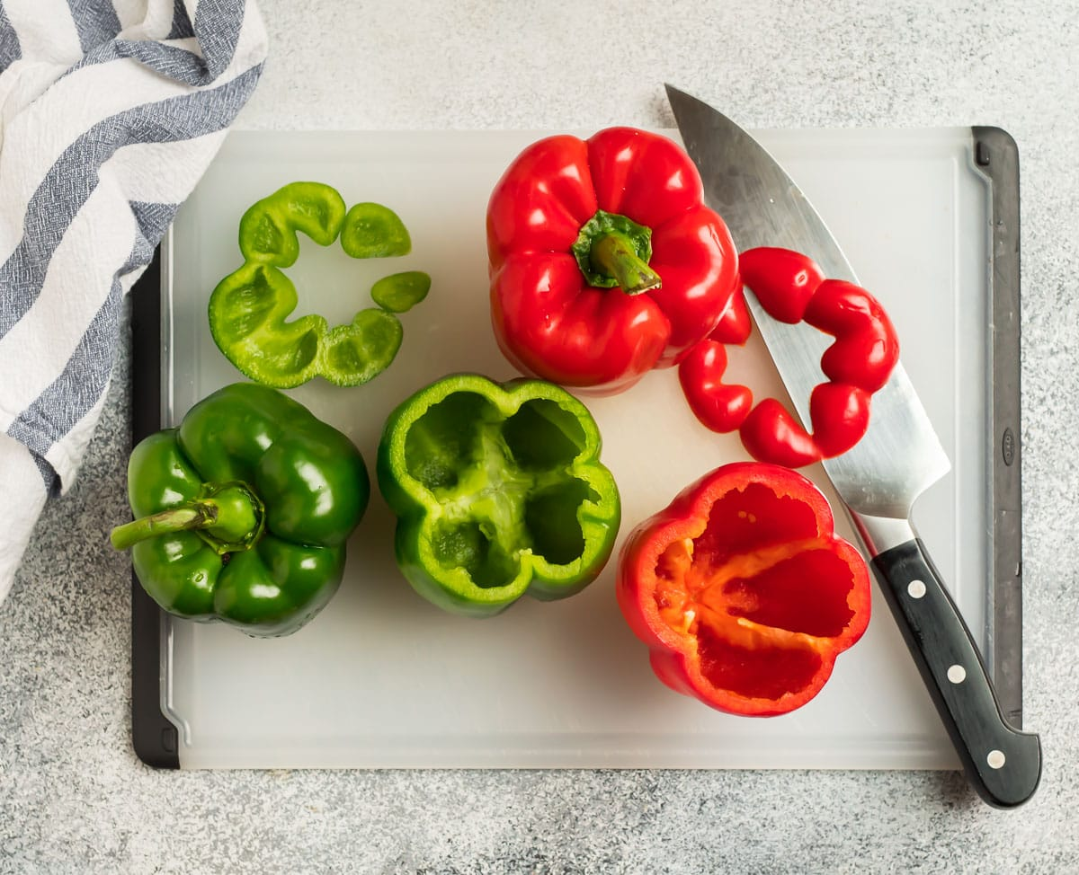 Bell peppers being sliced