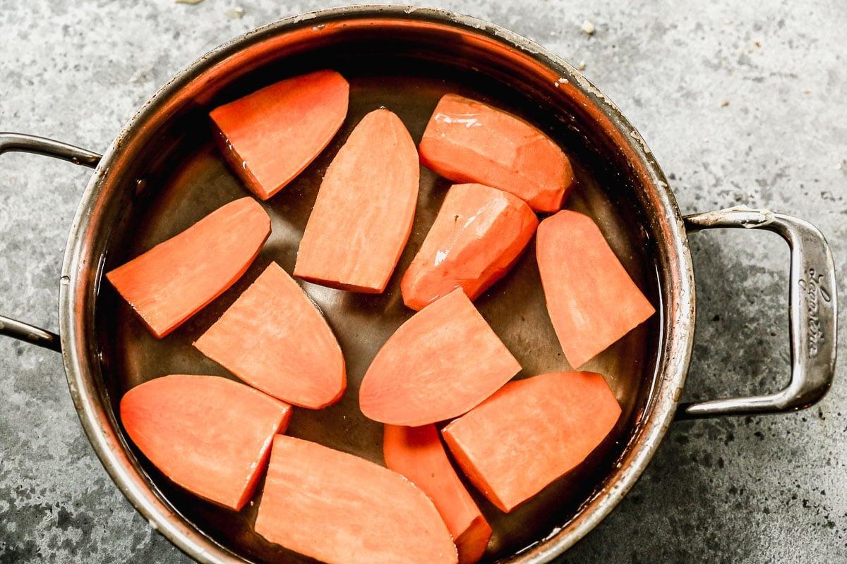 Sweet potatoes in a pot
