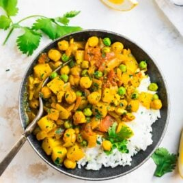 Easy potato curry with rice