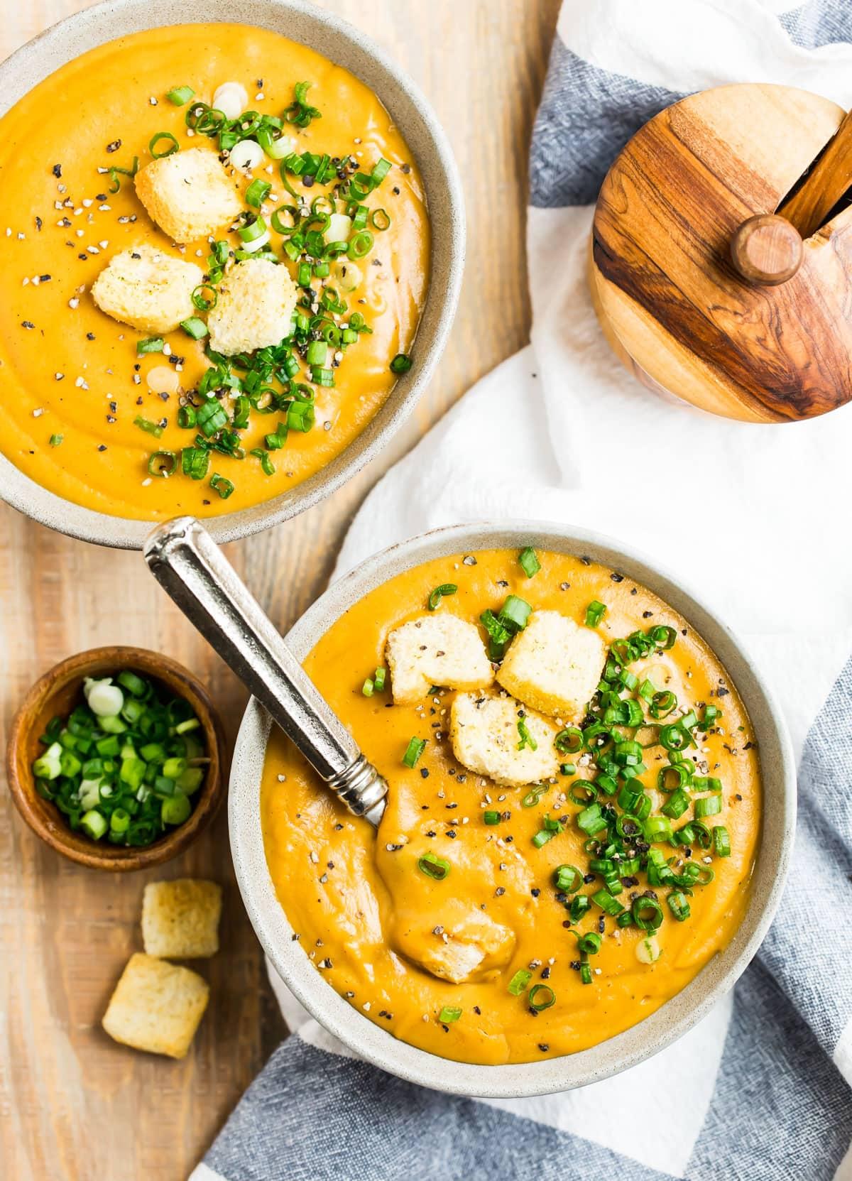 Two bowls of vegan potato soup