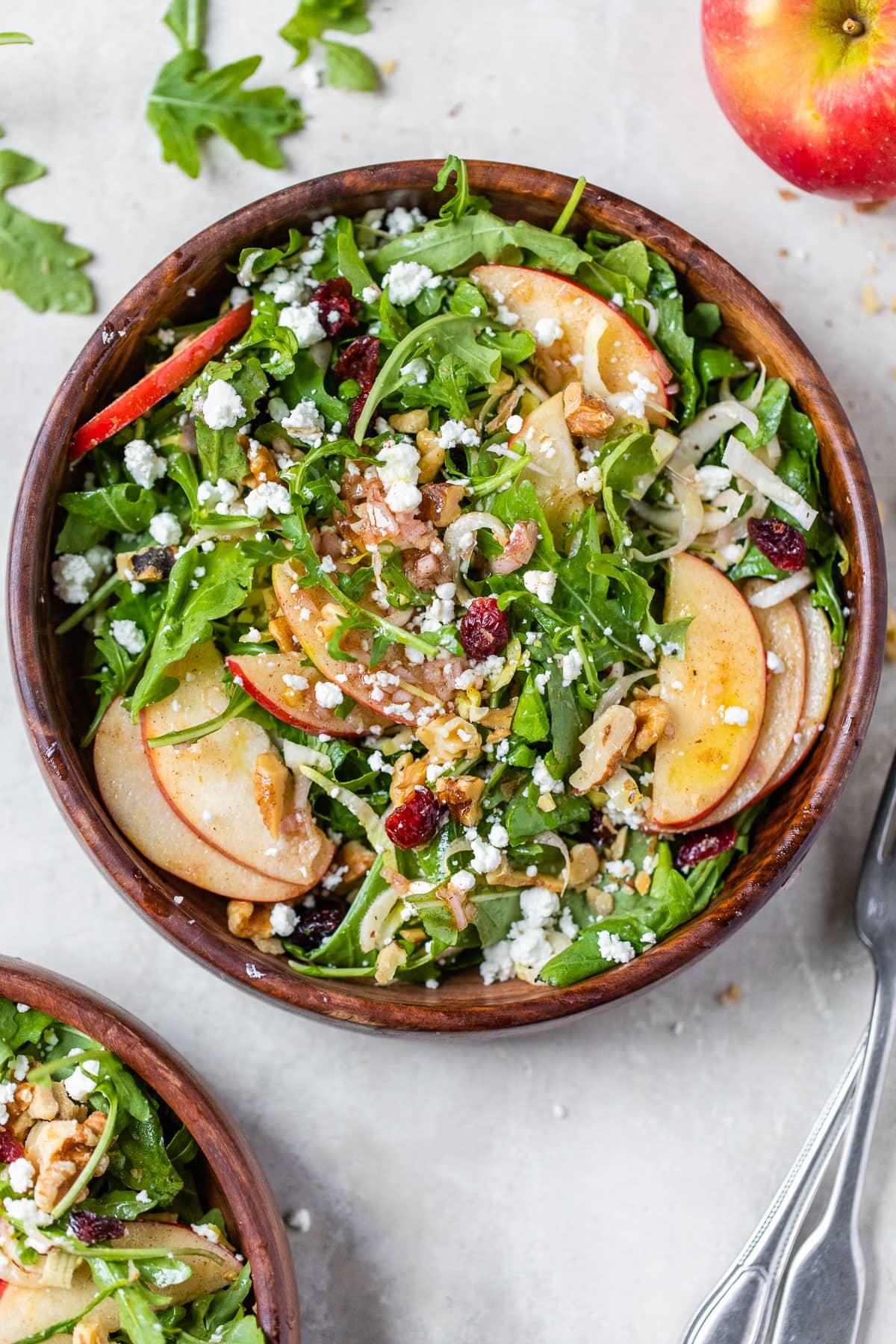 A bowl of apple walnut salad