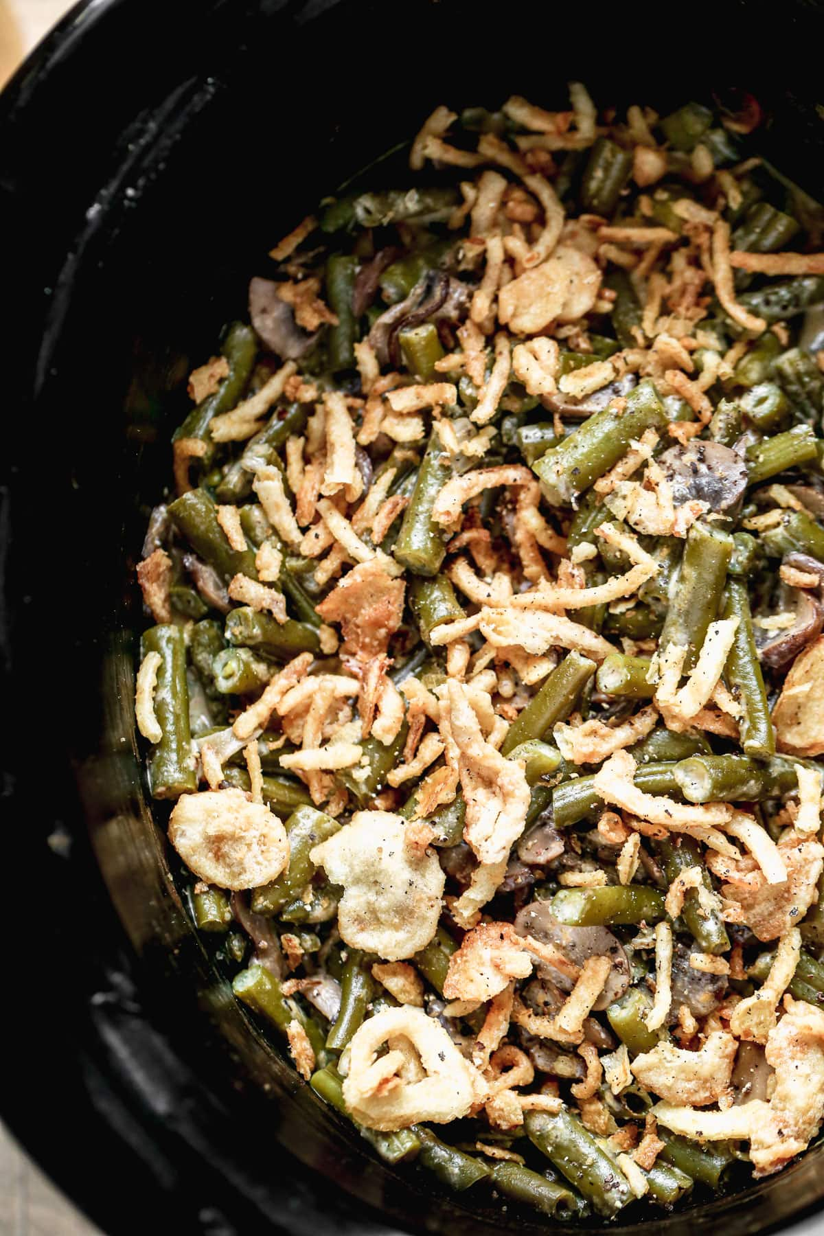 Green bean casserole in a crockpot