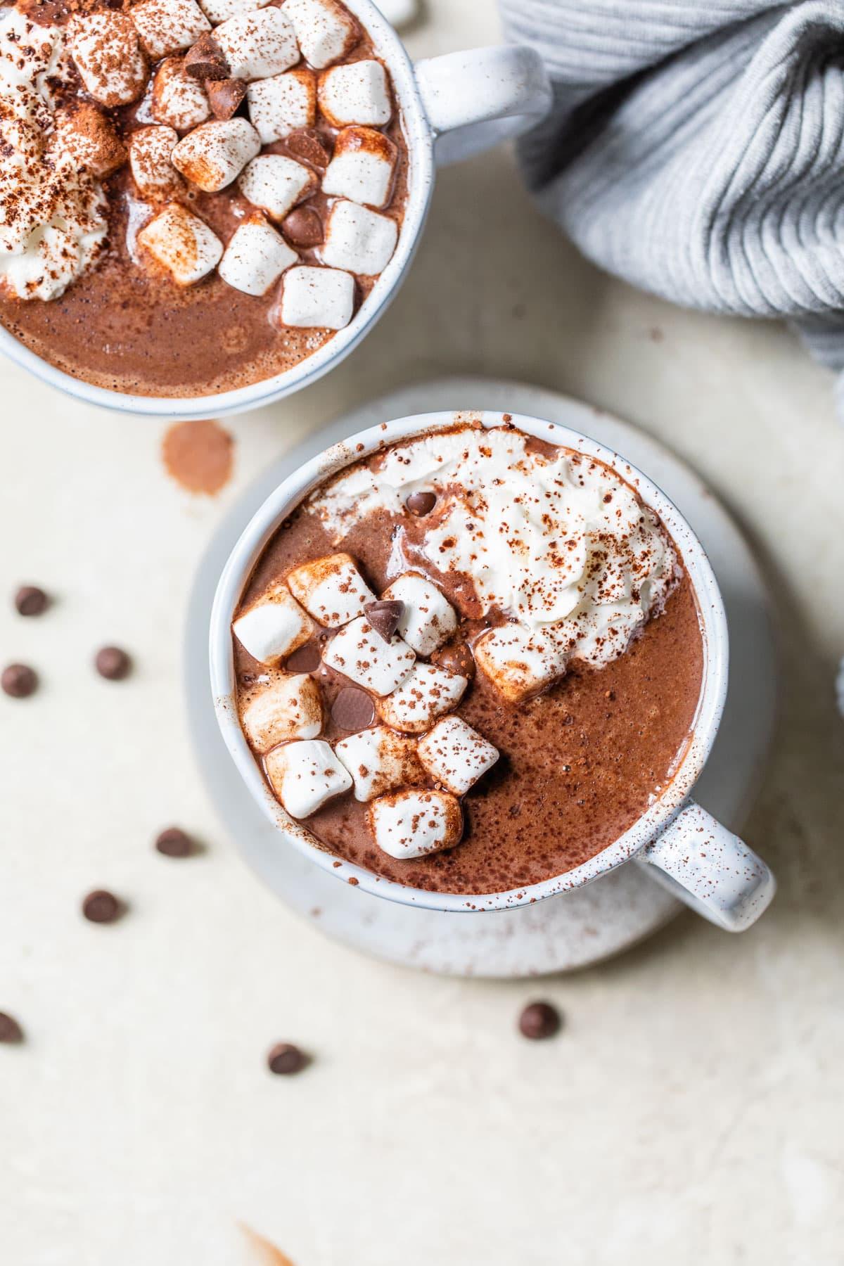 Two mugs of crockpot hot chocolate