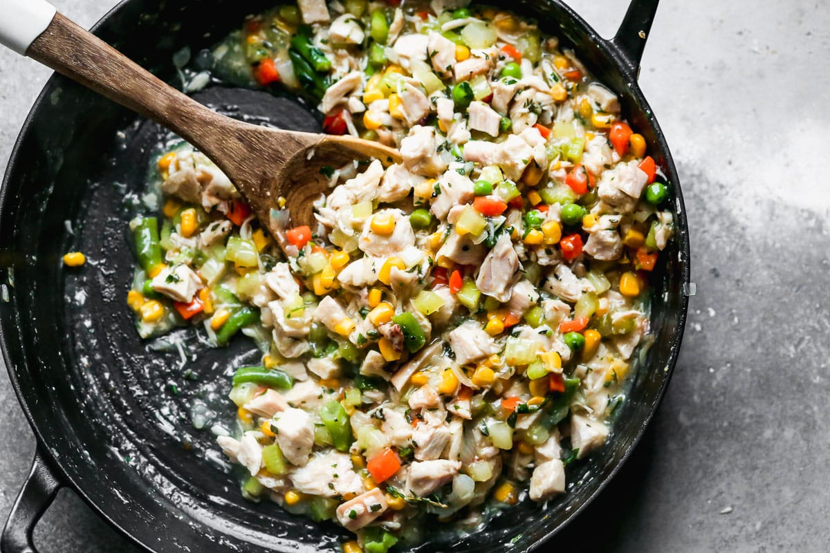 Vegetables and meat in a skillet