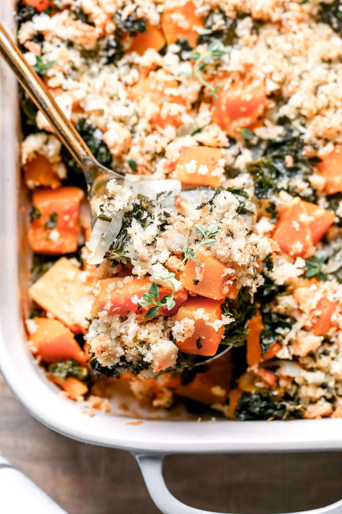 Kale and butternut squash casserole