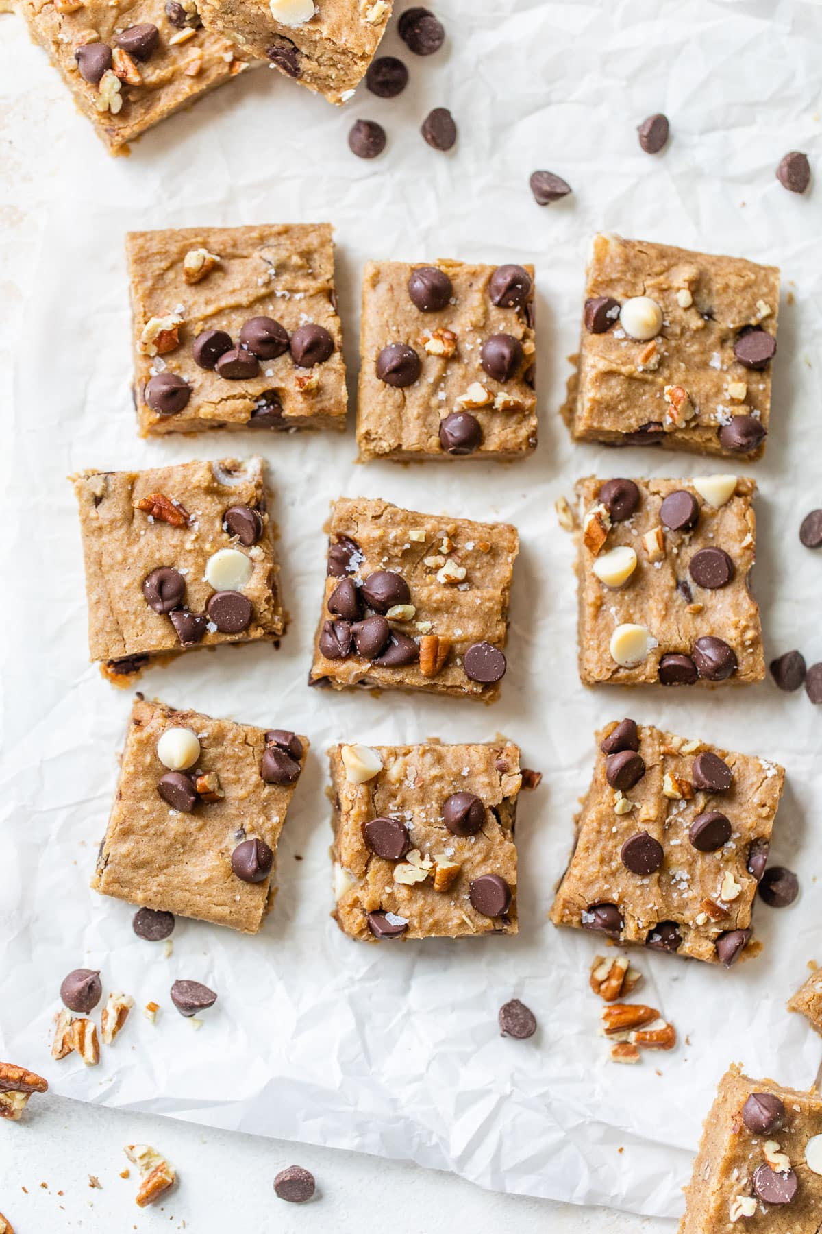 Chickpea blondies with pecans and chocolate chips