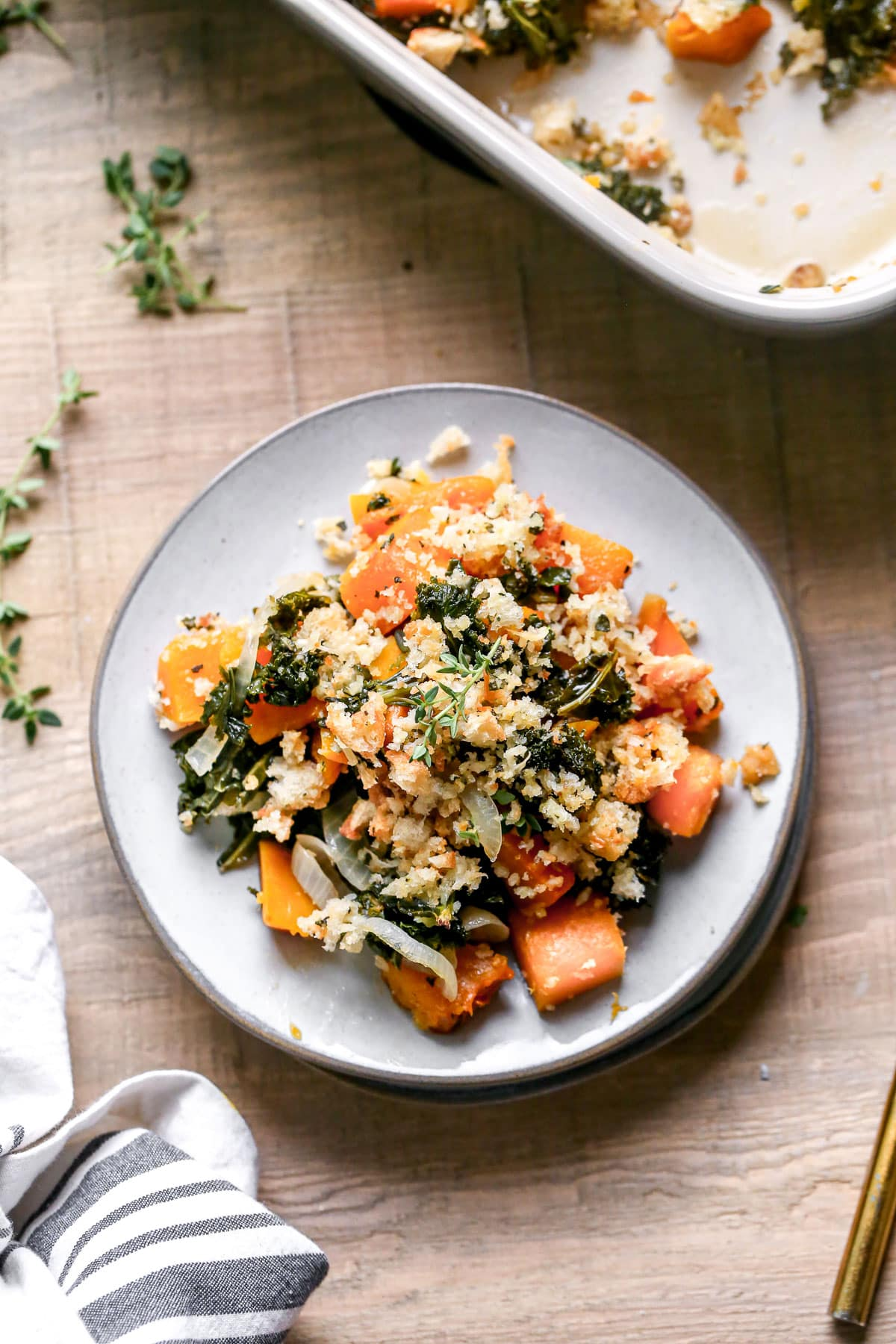 Healthy butternut squash casserole on a plate