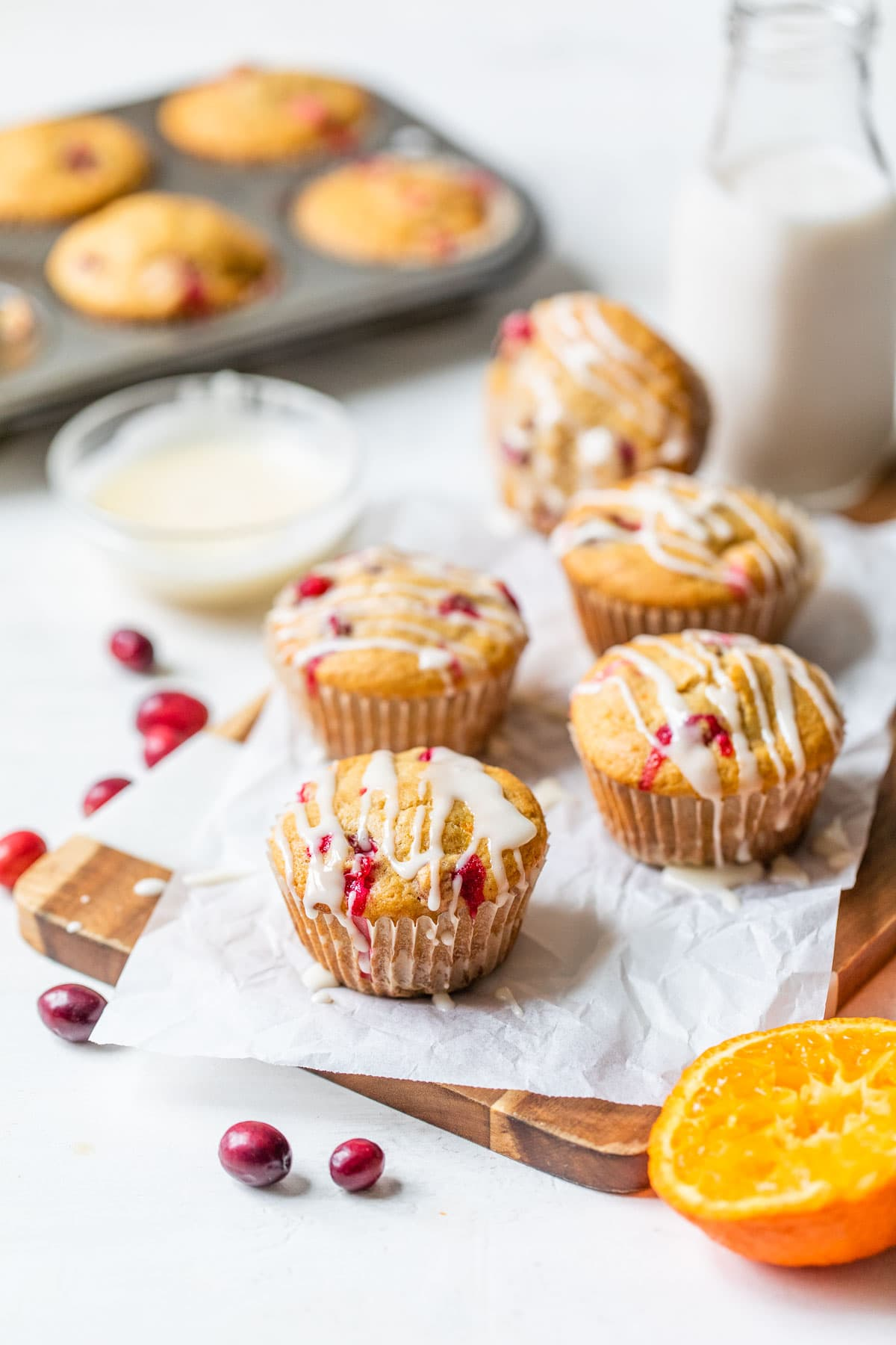 Cranberry orange muffins with icing