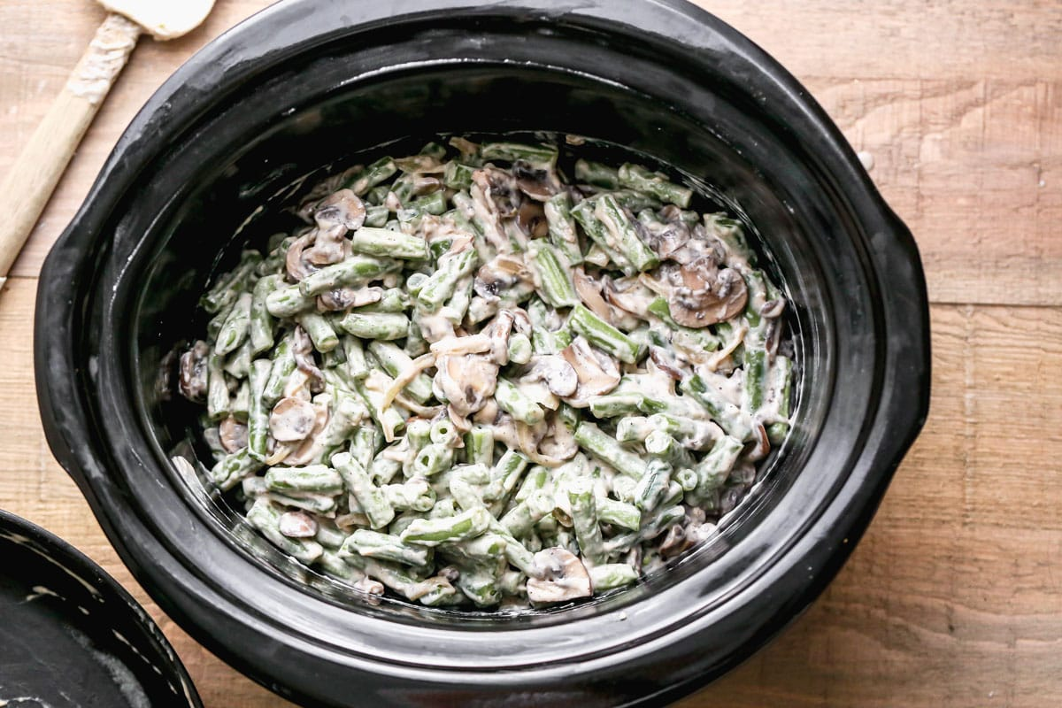 Crockpot green bean casserole with mushrooms