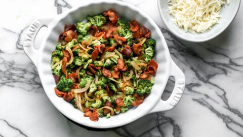 Bacon and vegetables in a baking dish