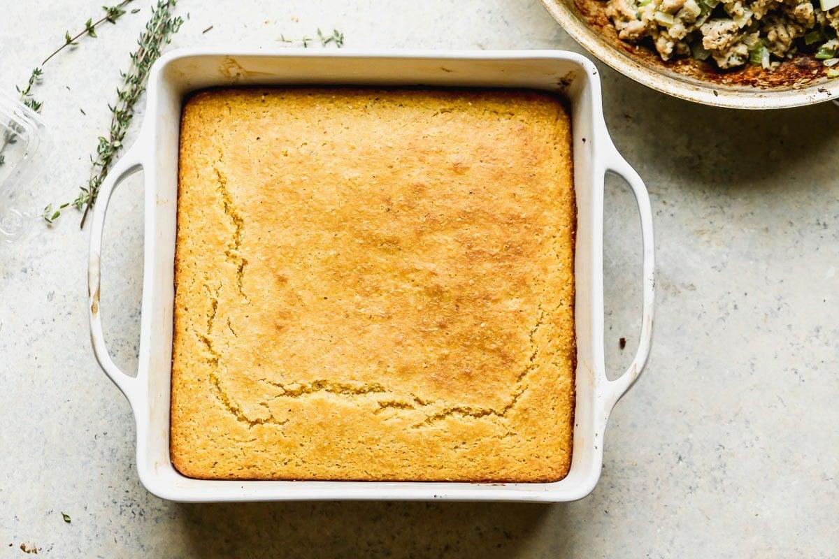 Cornbread in a baking dish