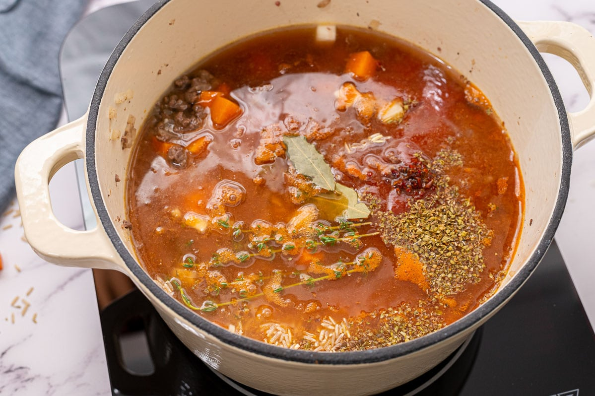 Herbs and spices in a broth