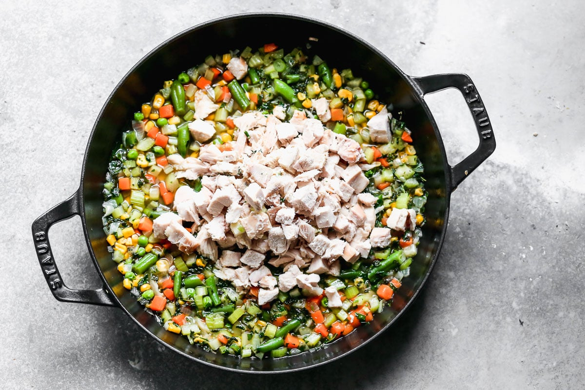 Diced meat and vegetables in a skillet