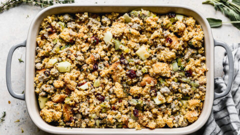 Ingredients to make a festive holiday side dish in a baking dish