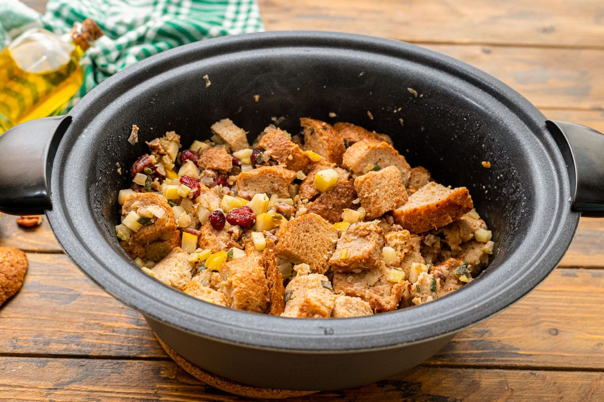 Crock pot stuffing in a slow cooker