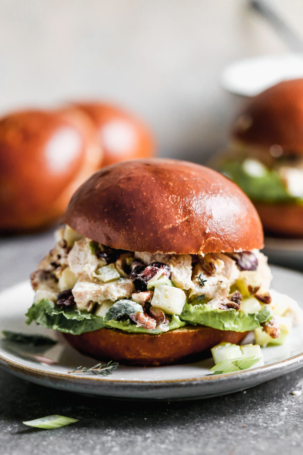 A turkey salad sandwich on a bun