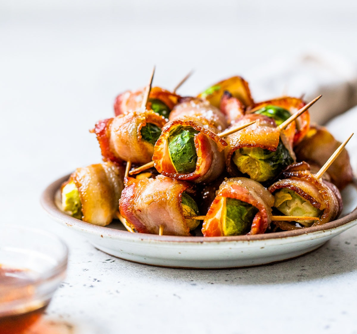 Skewered bacon wrapped Brussels sprouts
