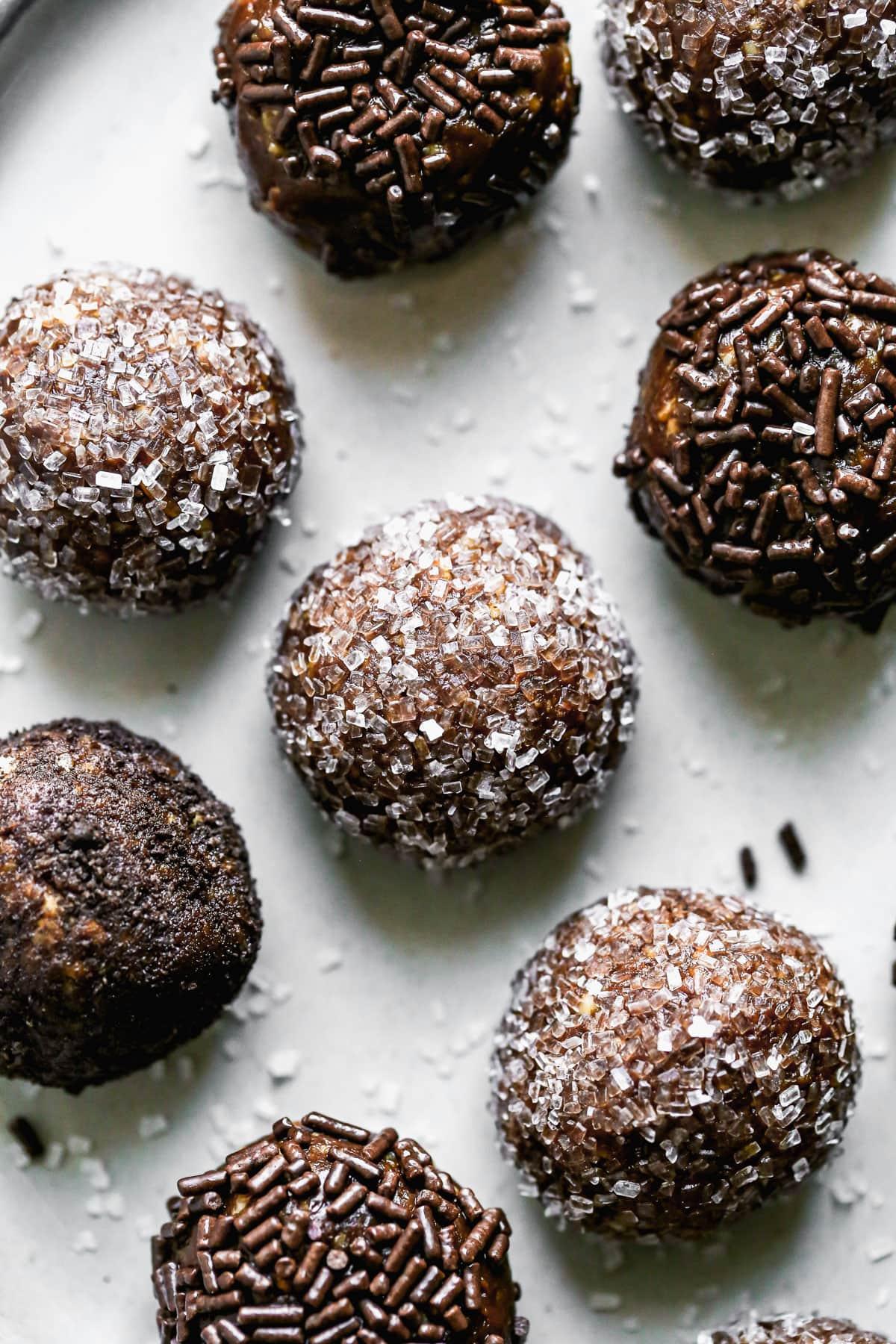 Bourbon balls with chocolate and sugar