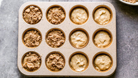 Coffee cake muffins with streusel topping in a muffin pan