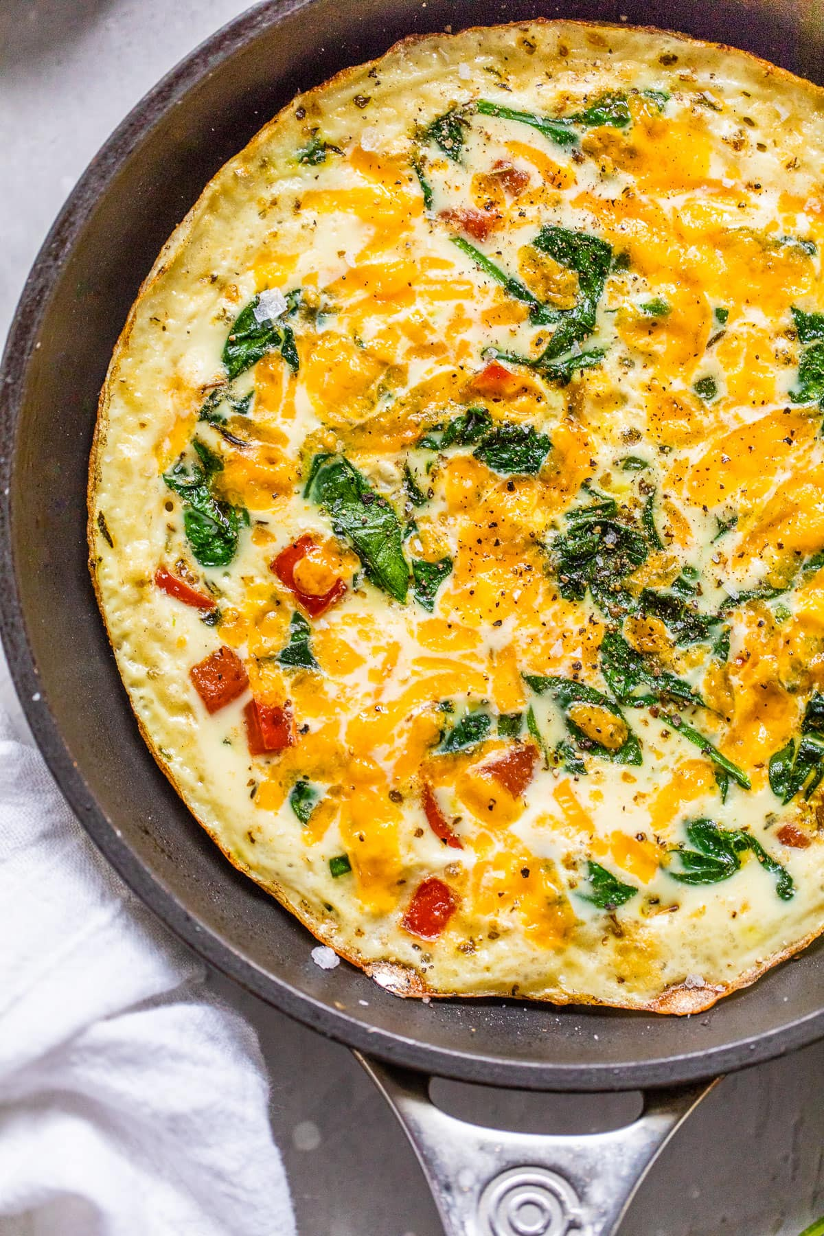 A skillet with healthy egg white frittata
