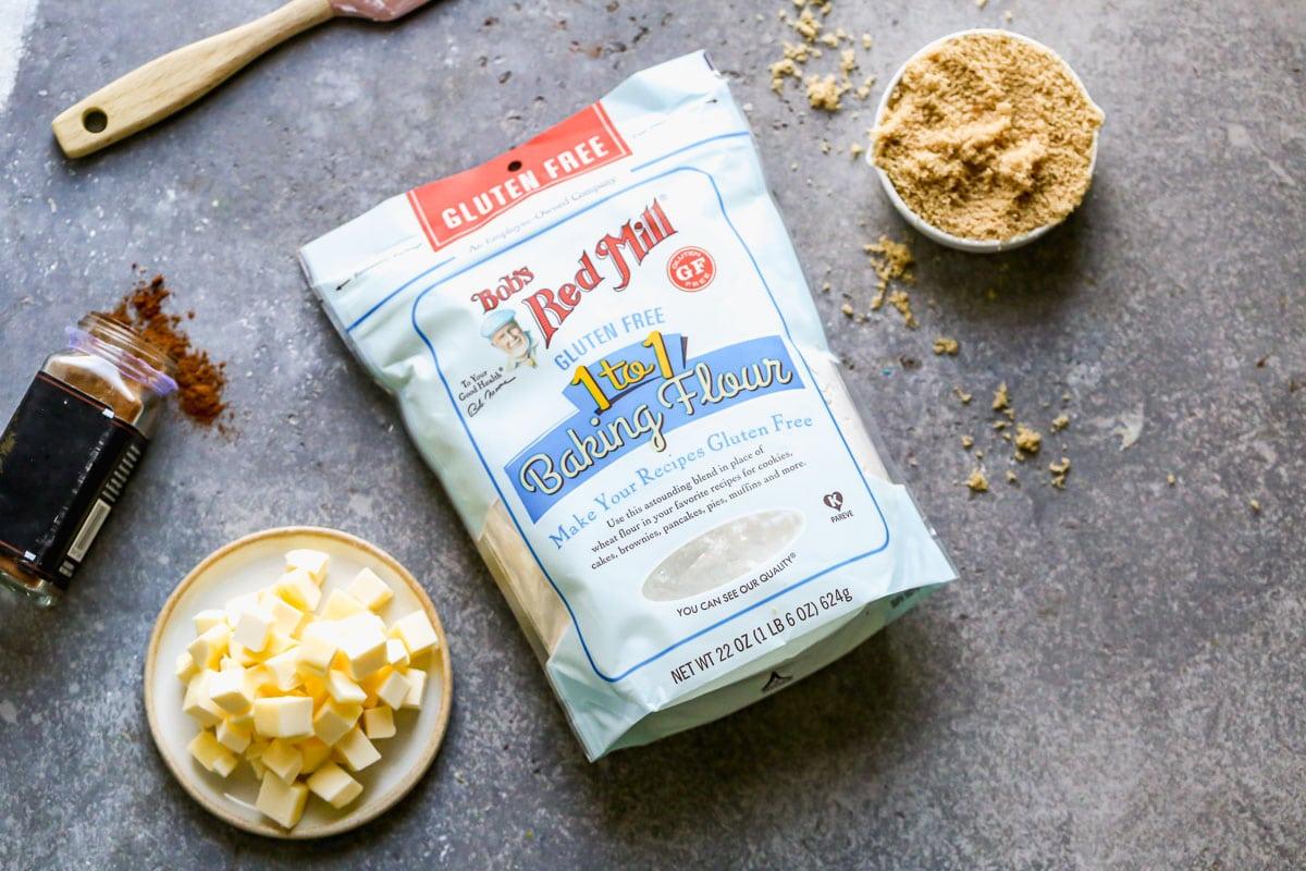 Butter, sugar, and gluten free flour